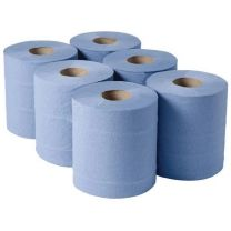 Centrefeed roll, 2 ply blue embossed, 6 rolls